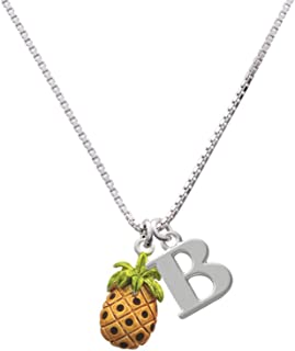Enamel Pineapple - Capital Initial Necklace