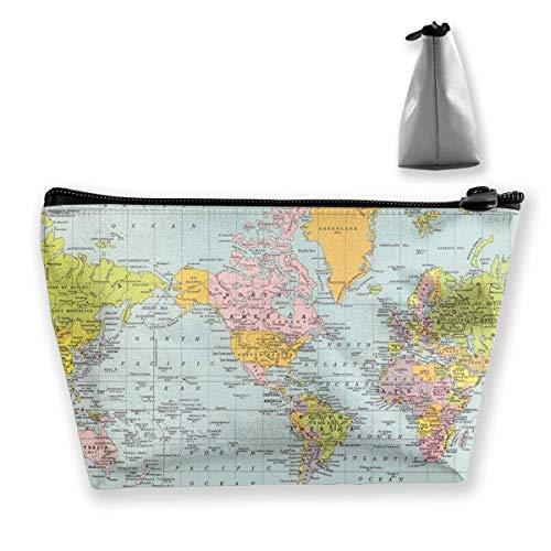 Schminktasche Kosmetiktasche Reise Make-up Tasche Kulturbeutel mit Reißverschluss Tasche für Frauen und Mädchen Vintage Weltkarte