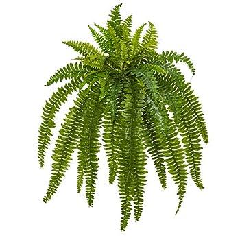 "Nearly Natural 35"" Boston Fern Artificial  Set of 2  Silk Plants Green"