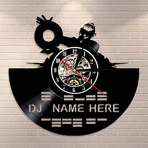 wtnhz LED-Reloj de Pared con Disco de Vinilo Mezclador de DJ Decora tu casa con música Moderna, Arte de Pared con Nombre de DJ, Regalo para Hombre