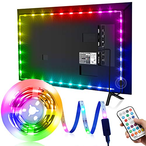 Tira LED TV 3M, OMERIL Luces LED TV RGB con 21 Modos y 16 Colores, Tiras LED USB con Control Remoto, Retroiluminación LED para TV (45-70 Pulgadas), HDTV, Habitación, PC, Monitor, Espejo, Estante