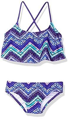 Kanu Surf Girls' Big Alania Flounce Bikini Beach Sport 2 Piece Swimsuit, Kirsten Purple Chevron, 7