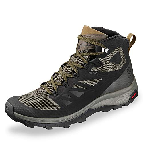 Salomon Men's OUTline Mid GTX Hiking Boots, Black/Beluga/Capers, 9