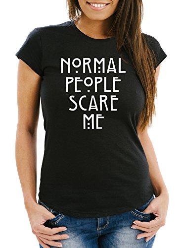 MoonWorks Normal People Scare Me T-Shirt Damen Slim Fit schwarz XL