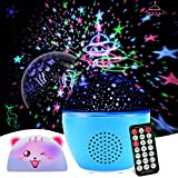 Night Light Starry Projector, GEEHOOD Kids Star Projector Remote Timer lamp with Bluetooth Speaker, for Baby Bedroom, Birthday Gift, Christmas, 2 Films and 1 cat lampshade(Upgraded Version)