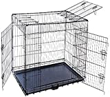 MDOG2 48 by 30 by 33-Inch Folding Triple-Door Metal Dog Crate with Divider Panel, XX-Large, Black