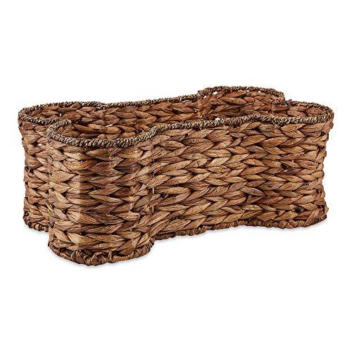 Bone Dry Pet Storage Collection Bone Shape Hyacinth Toy Basket, Medium, Dark Brown