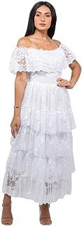 فستان لل نساء مقاس واحد , ابيض - فساتين سهرات