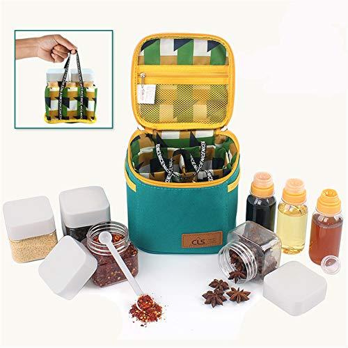 BrilliantDay Bottiglia di condimento per Esterni condimento Vaso di spezie condimento Trasparente e Bottiglia di aceto Contenitore con Borsa da Trasporto per Campeggio all\'aperto(Set di 7 Pezzi)#1