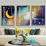 Yllang Pinturas en Lienzo Modernas, póster de Estrellas y Luna Naturales, Impresiones en Lienzo, Imagen artística para Pared, habitación de bebé, decoración del hogar, 50x70cmx3 sin Marco