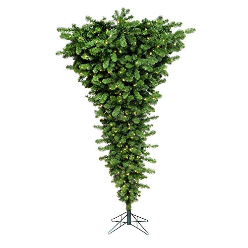 Vickerman A107456LED Upside Down Artificial Christmas Tree with 250 Warm White LED Lights, 5.5' x 38', Green