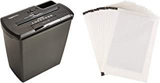 Amazon Basics 8-Sheet Strip-Cut Paper Shredder and Shredder Sharpening & Lubricant Sheets (Pack of 12) Bundle
