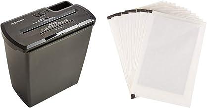 Amazon Basics 8-Sheet Strip-Cut Paper Shredder and Shredder Sharpening & Lubricant Sheets (Pack of 12) Bundle photo