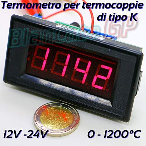 TERMOMETRO DIGITALE DA PANNELLO PER TERMOCOPPIA DI TIPO K 12V 24V incasso probe