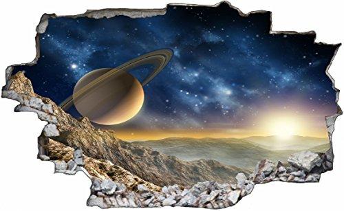 DesFoli Weltraum Erde Space Weltall Galaxy Planeten 3D Look Wandtattoo 70 x 115 cm Wand Durchbruch Wandbild Sticker Aufkleber C215