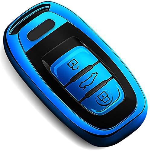 COVELL für Audi Autoschlüssel Hülle, Prämie Weiches TPU Schutzhülle Schlüsselhülle für Audi A4 A5 A6 A7 A8 Q5 Q8 R8 S4 S5 S6 S7 RS4 RS5 RS6 RS7 Autoschlüssel, Blau