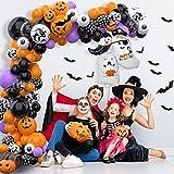 75 pcs Halloween Luftballons Girlande, Orange Schwarz Luftballons Kürbis Ballon Dekorationen, Schwarzer Fledermaus Konfettiballon Helium Balloon für Halloween party Dekoriert Tischdeko Geburtstagdeko - 5
