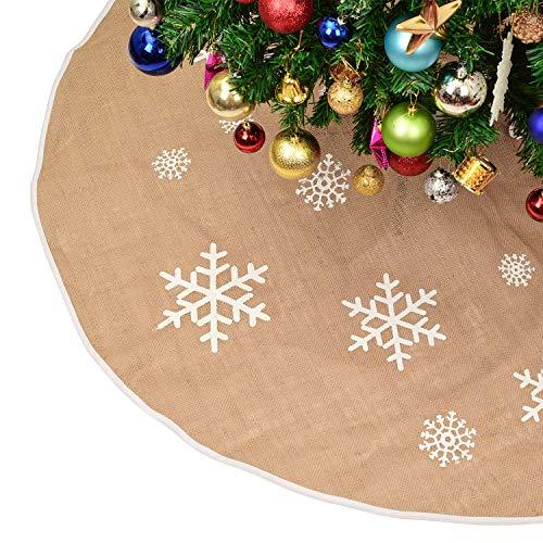 YQing 122cm Weihnachtsbaumdecke Rund, Christbaumdecke Christbaumrock Rund Christbaum Abdeckung, Tannenbaumdecke Weihnachtsdeko für Weihnachtsfeiertag