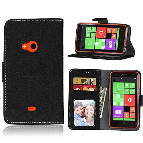 pinlu® Hohe Qualität Retro Scrub PU Leder Etui Schutzhülle Für Nokia Microsoft Lumia 625 Lederhülle Flip Cover Brieftasche Mit Stand Function Innenschlitzen Design Schwarz