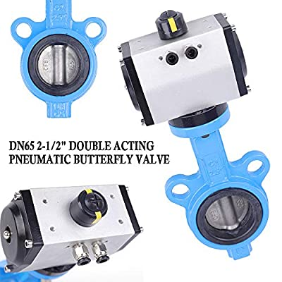 """DN50 2"""" Double Acting Butterfly Valve Pneumatic Air Actuated Ball Valve Ball Pump Flange Wafer Type by TUQI"""
