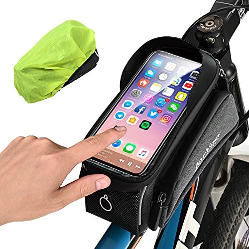 JorYoo Fahrrad Rahmentasche, Hohe Kapazität Lenker Fahrradtasche Rahmen mit wasserdichte Schutzhülle,Wasserdicht Fahrrad Handyhalterung mit Sensitive Touch Screen, MTB Rahmentasche für Handy 6,7 Zoll