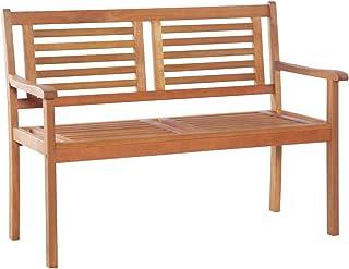 vidaXL Solid Eucalyptus Wood 2-Seater Garden Bench Weather Resistant Outdoor Lounge Seat Backyard Armchair Patio Furniture...