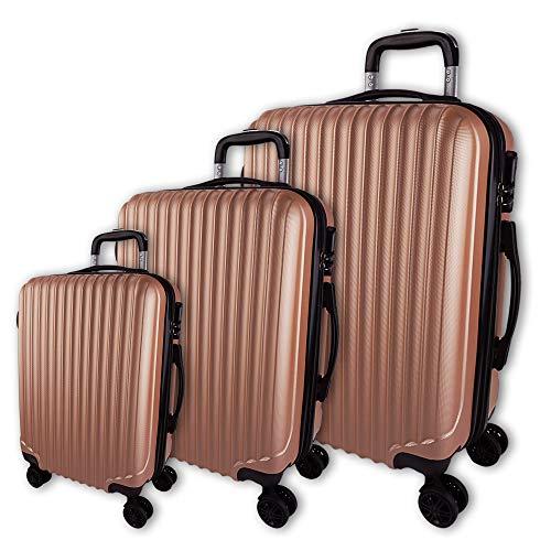 Juego de 3 Maletas rígidas con Barra Extensible y cómodas Asas, Maletas de Viaje con Ruedas, Ligeras. Topflight - Luz de Color Oro Rosa M + L + XL