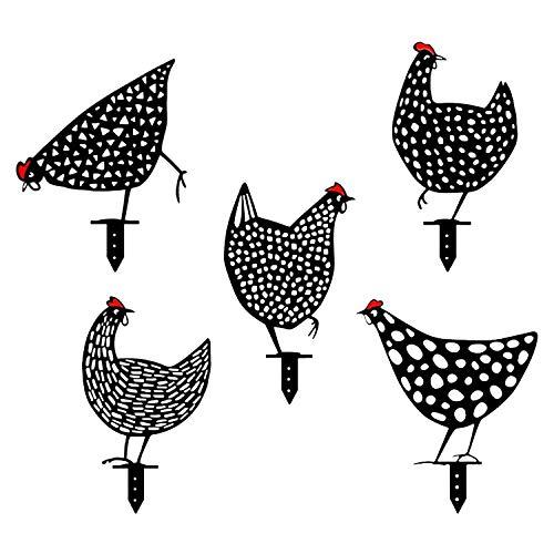 Hahn und Henne Deko 5 Stück Huhn Gartenfiguren für Außen Gartenzwerg Lustig Garten Dekoration für Außen
