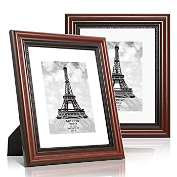 ARTrend 8X10 Picture Frames with 5x7 Mat,2 Pack Photo Frames for Wall or Tabletop Display,Cherry Wood Grain