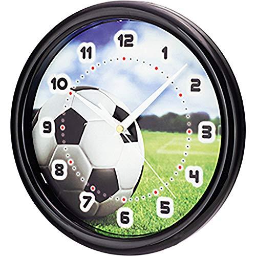 SELVA Kinderwanduhr – Fußball-Motiv – ABS-Gehäuse – Plastikglas – Geräuschlos – Ø 25 cm