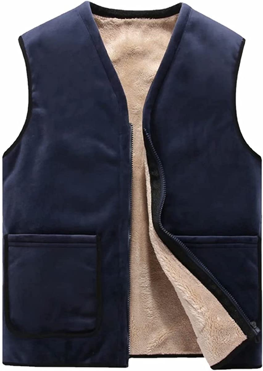 Winter V-Neck Sherpa Lined Waistcoat Vest for Men Outdoor Warm Zipper Fleece Vest Sleeveless Jacket