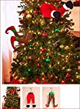 SANTA AND ELF STUCK IN CHRISTMAS TREE STUFFED PANTS DECOR