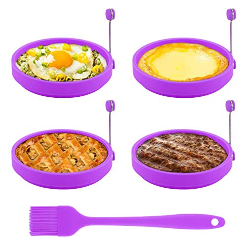 Egg Ring, TGJOR Egg Cooking Rings, Round Pancake Mold BPA Free & FDA Approved, Non Stick Silicone Ring for Eggs, 4 Pack Reusable Fried Egg Mold with an Oil Brush (Purple)
