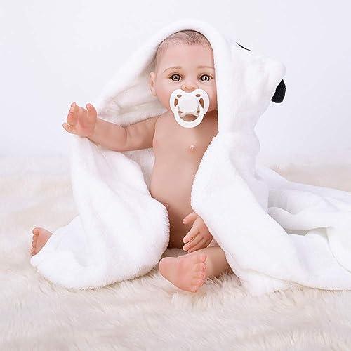 Hongge Reborn Baby Doll, Volles Vinyl Silikon Reborn Babys Puppe Hand Malerei Haar Spielzeug Kinder Geburtstagsgeschenk 43cm