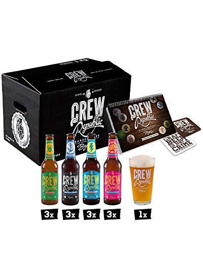 CREW REPUBLIC® Craft Beer IPA Mix | Probierset | Ideales Geschenk für Männer | Bierspezialitäten aus Bayern nach deutschem Reinheitsgebot | Inkl. Verkostungsglas und Tasting Notes (12 x 0,33l)