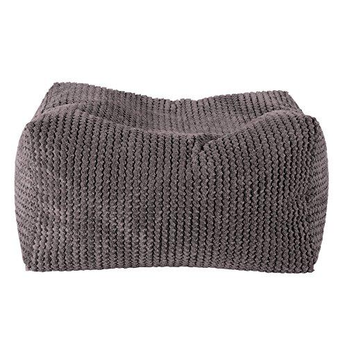 Lounge Pug - Pom Pom - Bean Bag Footstool - Small - CHARCOAL GREY - (Size 20cm H x 35cm D x 45cm Wide)
