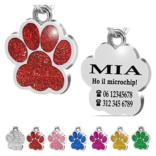 Iberiagifts - Zampa in Acciaio Targhetta Medaglietta identificativa Personalizzata per Collare Cane Gatto Animale Domestico con incisione (Rosso)