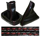 AERZETIX: Funda para palanca de cambios y freno de mano de piel sintética negro con costuras rojo
