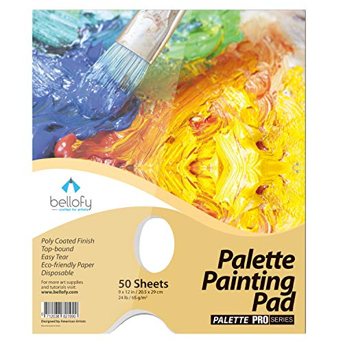 Bellofy Palette Paper Painting Pad – Disposable Acrylic Oil Paint Palette 50 Sheets - 9x12 in - Perfect for Mixing Acrylic Paint, Oils, Caseins - Artist Mixing Palette, Palette for Acrylic Painting