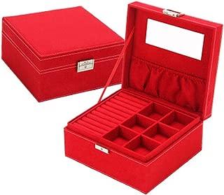 Jewelry Box with Mirror Jewelry Box Jewelry with Lock Storage Box(Red One Size)