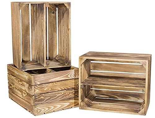 Vinterior 3er Set flambierte/geflammte Massive Obstkisten als Regal mit Zwischenbrett/Mittelbrett Einlage 50cm x 40cm x 30cm (LxBxH) / Apfelkisten Weinkisten Holzkiste