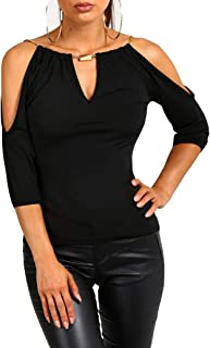 USGreatgorgeous Women's Open Cold Shoulder Slim Fit Short Sleeve Tee Shirt Casual Blouse Tops