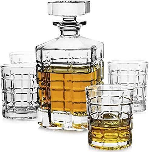 Decanters Whiskey Decanter Whiskey Decanter Set, Premium 1 iceberg Whisky Decanter con 4 gafas de whisky de iceberg para licor Scotch Bourbon Vodka Brandy o Wine vaso whisky RVTYR (Size : Checkered)