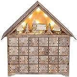 Out of the blue Adventskalender aus Holz, Haus mit warmweißen LEDs, Natur, Con Bianco Caldo
