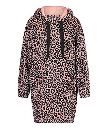HUNKEMÖLLER Leopard superweiches Fleece-Kleid mit Kapuze Rose S