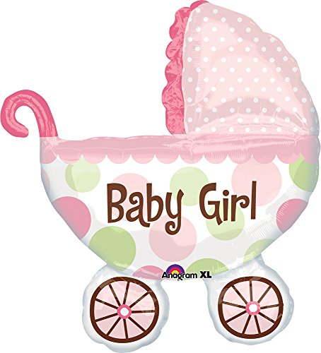 Anagram 1789601 - Party und Dekoration - Folienballon Super Shape - Kinderwagen - Baby Girl, circa 71 x 79 cm