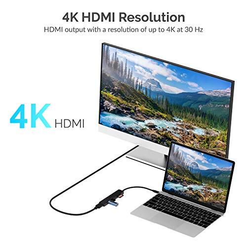 Sabrent Multi-Port USB Typ-C Hub mit 4K HDMI   Power Delivery (60 Watt)   1 USB 3.0 Port   1 USB 2.0 Port   SD/microSD Kartenleser (HB-TC6C)