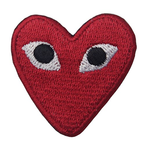 CasStar Aufnaeher Aufbuegler Patches Applikation Buegelbild Play Comme des Garcons Red Heart Eyes