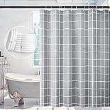 Duschvorhang, Duschvorhang Antischimmel 180x180, Waschbare Duschvorhänge Langlebig, Duschvorhang für Bad Geeignet, Grau Duschvorhang Offene mit 12 Haken