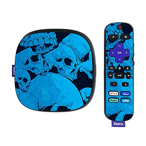 MightySkins Skin Compatible with Roku Ultra HDR 4K Streaming Media Player (2020) - Blue Skulls | Protective, Durable, and Unique Vinyl Decal wrap Cover | Easy to Apply | Made in The USA